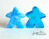 Mediterranean  Meeples - set of 2! Cast glass Player Marker by Jenefer Ham Pawns Board Game Glass Sculpture