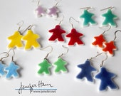 Choose your color: large MEEPLE tinted earrings! super cute meeple glass earrings made by Jenefer Ham