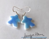 BLUE Tinted MEEPLE glass earrings, made by Jenefer Ham