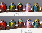 choose your HOOT owls! Sculpture/ Miniature/ Cake Topper / Wedding Gift / Player Marker by Jenefer Ham Board Game Glass