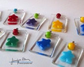 Choose your color: MEEPLE ornament / pendant! super cute glass made by Jenefer Ham