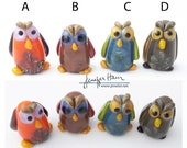 choose from 10 HOOT owls! Sculpture/ Miniature/ Cake Topper / Wedding Gift / Player Marker by Jenefer Ham Board Game Glass