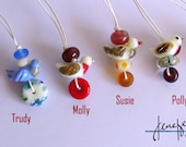 TWEET! Six lampworked glass bird totem necklaces made by Jenefer Ham