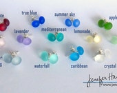 10+ colors of SEAPEARLS! Lovely glass stud post earrings with sterling silver by Jenefer Ham