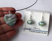 Watercolors pendant and earring set! Beautiful glass necklace made Jenefer Ham