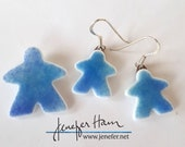 BLUE Tinted MEEPLE jewelry!  glass earrings, necklace, cufflinks, pin, brooch made by Jenefer Ham