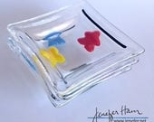PREORDER Meeple Square Dishes - set of 4! board game  glass decor by Jenefer Ham