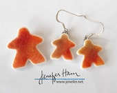 RED Tinted MEEPLE jewelry!  glass earrings, necklace, cufflinks, pin, brooch made by Jenefer Ham