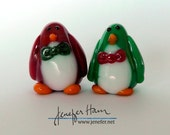 Festive holiday PENGUINs -- set of 2 Sculpture/ Miniature/ Player Marker by Jenefer Ham Board Game Glass