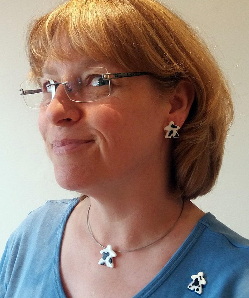 MOOples super cute cow meeple glass earrings pin cufflinks image 0