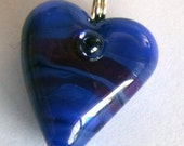I HEART YOU! A smaller lampworked glass heart necklace made by Jenefer Ham