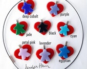MEEPLE on a heart! super cute meeple glass necklace made by Jenefer Ham
