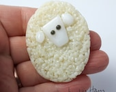 choose from 4 colors - LOVELY LITTLE LAMB! HAMinal brooch for knitters sheep wool lamb glass gift