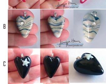 I HEART YOU! nine lampworked glass heart pendants made by Jenefer Ham