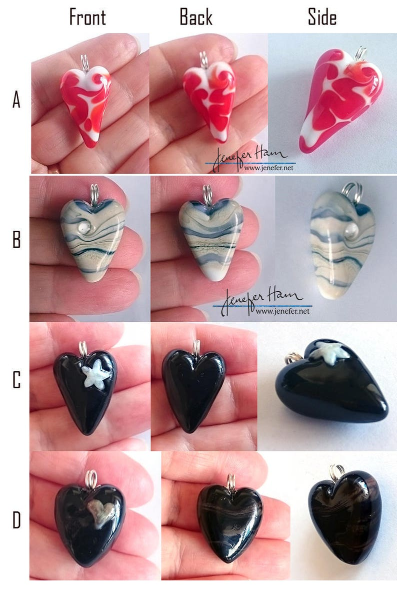 I HEART YOU nine lampworked glass heart pendants made by image 0