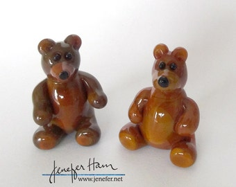 TEDDY BEAR! Glass Sculpture Player Marker Figurine Miniature by Jenefer Ham Pawn Board Game