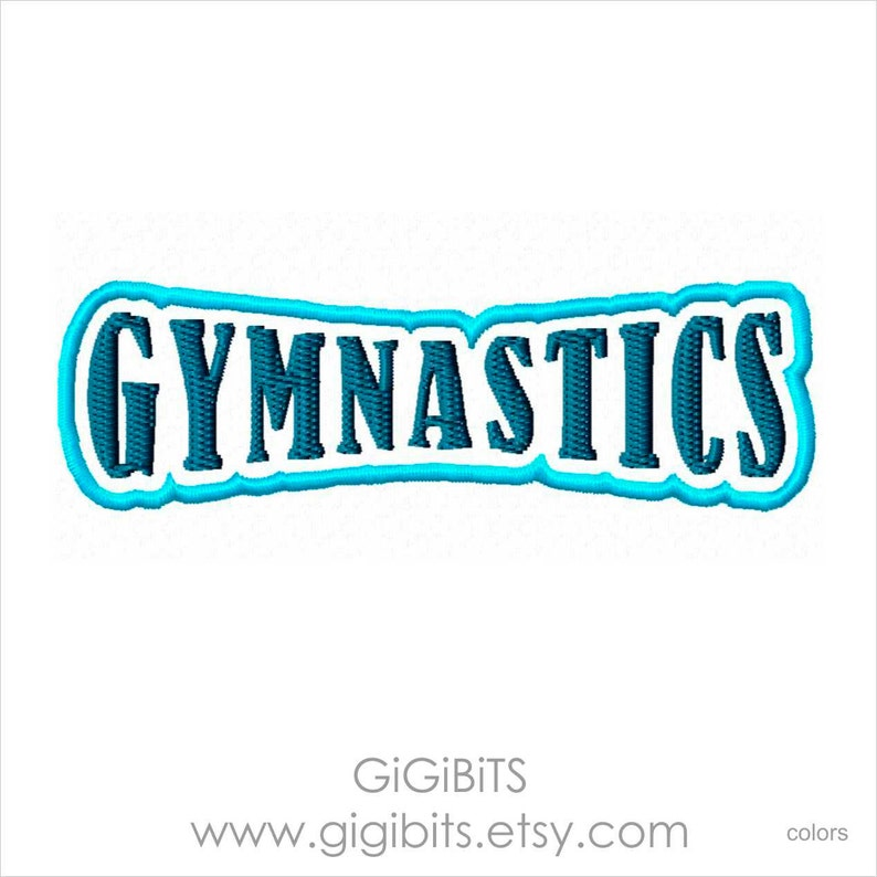 275adf0b3d8 Filled Embroidery Word 'Gymnastics' Inscription | Etsy