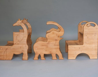 Bamboo Childrens Stools in Animal and Basic Shapes with Handles; Personalize kids stools; Gifts for Toddlers and Preschoolers