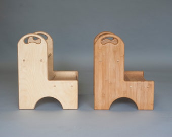 Pet steps in Birch and Bamboo with Handles; pet stairs; dog steps; dog stairs