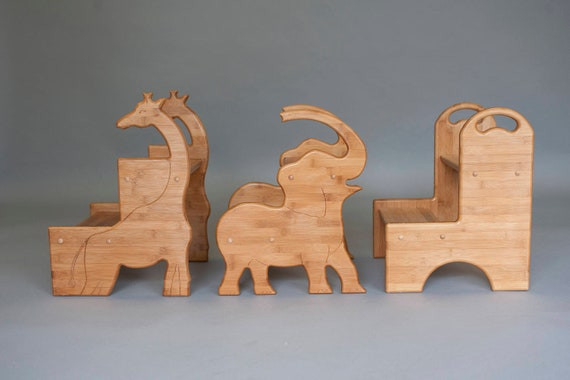 Bamboo Childrens Stools In Animal And Basic Shapes With