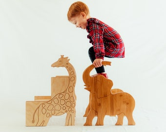 Wooden Childrens Stools Handcrafted in Elephant and Giraffe Shapes with Handles; personalized kid gift