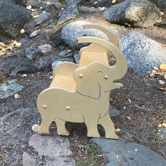 Fantastic Wooden Elephant Stool Bathroom Stool Kids Kitchen Stool Elephant Furniture Elephant Nursery Personalized Kids Gifts Gift For Baby Onthecornerstone Fun Painted Chair Ideas Images Onthecornerstoneorg