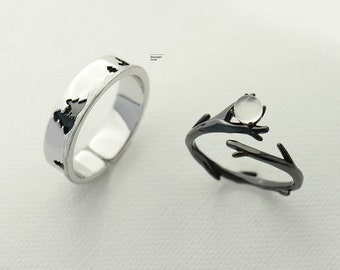 65804980ae Moonlight Forest Couple Rings,Promise Rings Set, His and Her Promise Rings, Couple  Ring Set,925 Sterling Silver,Adjustable open ring