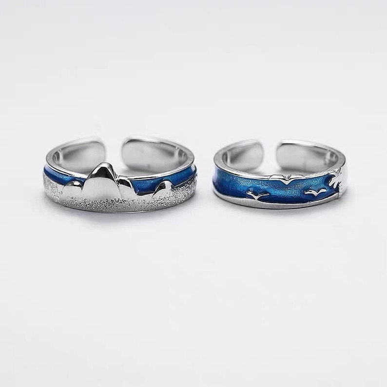 Couple Ring Set,925 Sterling Silver,Adjustable open ring His and Her Promise Rings Couple Rings,Promise Rings Set