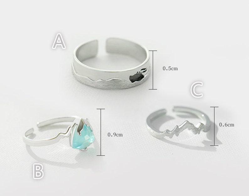 Taikanic Couple Rings,Promise Rings Set Couple Ring Set,925 Sterling Silver,Adjustable open ring His and Her Promise Rings