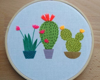 Cactus embroidery hoop art, colourful contemporary hand stitched design, potted  succulent plants