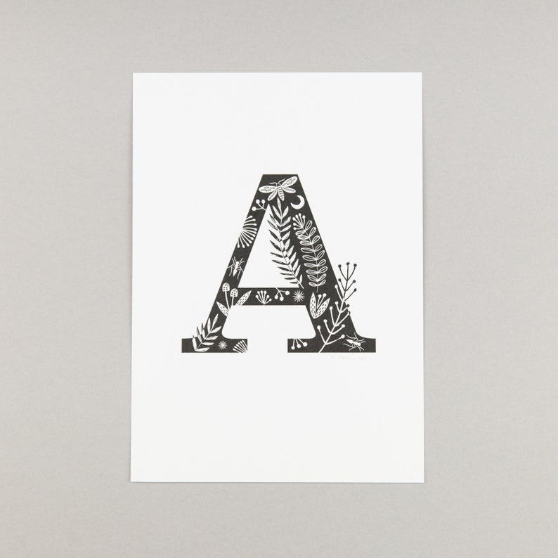 Alphabet letters, folk art design, A4 print, first name initial letter,  letters A - I