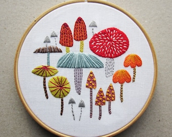 DIY embroidery printed fabric, mushroom & toadstools design to stitch yourself at home