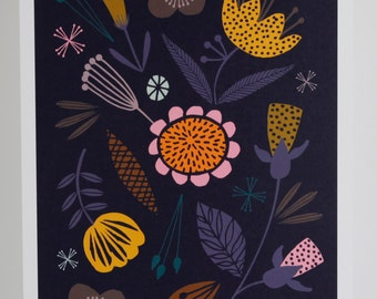 A4 floral giclee print