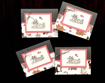 CAT greeting cards, blank card, Happy Birthday, Cat get well, Cat happy birthday, Stampin' UP!,  Cat lover gift, gray cat, Foster cat TNR