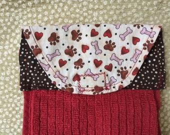 Dog Kitchen Towel, dog drool towel, dog bib, dog slobber towel, crazy dog lady, gift for dog lover, dog paw prints, dog stocking stuffer