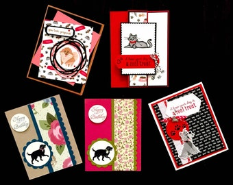 DOG or CAT greeting cards, Happy Birthday, Stampin' UP!,  Cat lover gift, Dog lover gift, pomeranian, gray cat, schnauzer, black lab, tabby