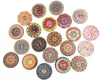 50 pieces Mixed 2 hole Boho Wooded Button Sewing Accessories Decorative Button Handmade Embellishments For Scrapbooking DIY Craft 25mm