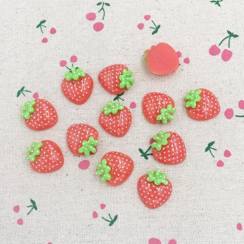 1//10pcs Mini Strawberry Resin Flatback Button DIY Scrapbooking Accessories