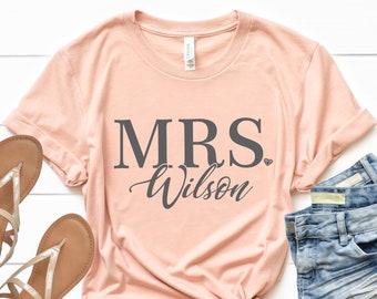52d130e115 Mrs Shirt, Custom Mrs shirt, honeymoon shirt, wife shirt, gift for bride, shirt  for honeymoon, personalized mrs shirt, just married shirt