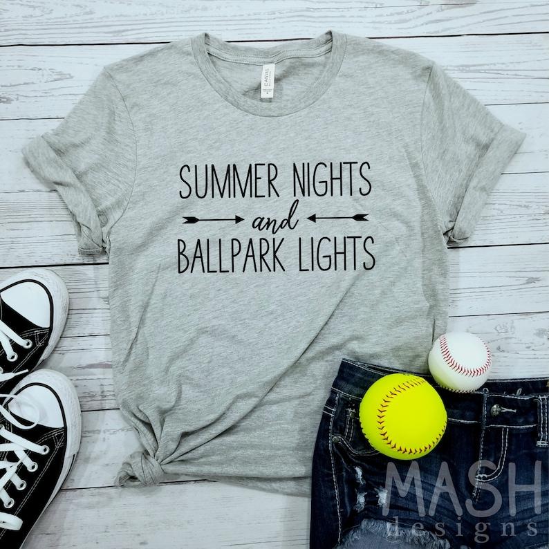 4a3a81e3c862 Baseball shirt softball shirt summer nights and ball park
