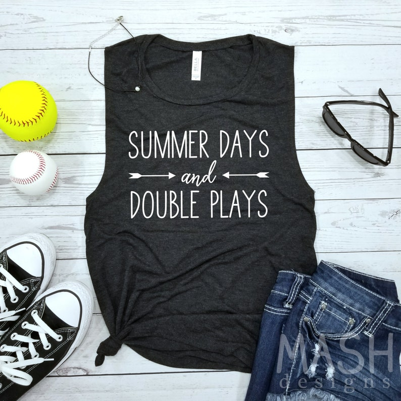 1ef0c3d2fbb4 Softball tank baseball tank summer days and double plays
