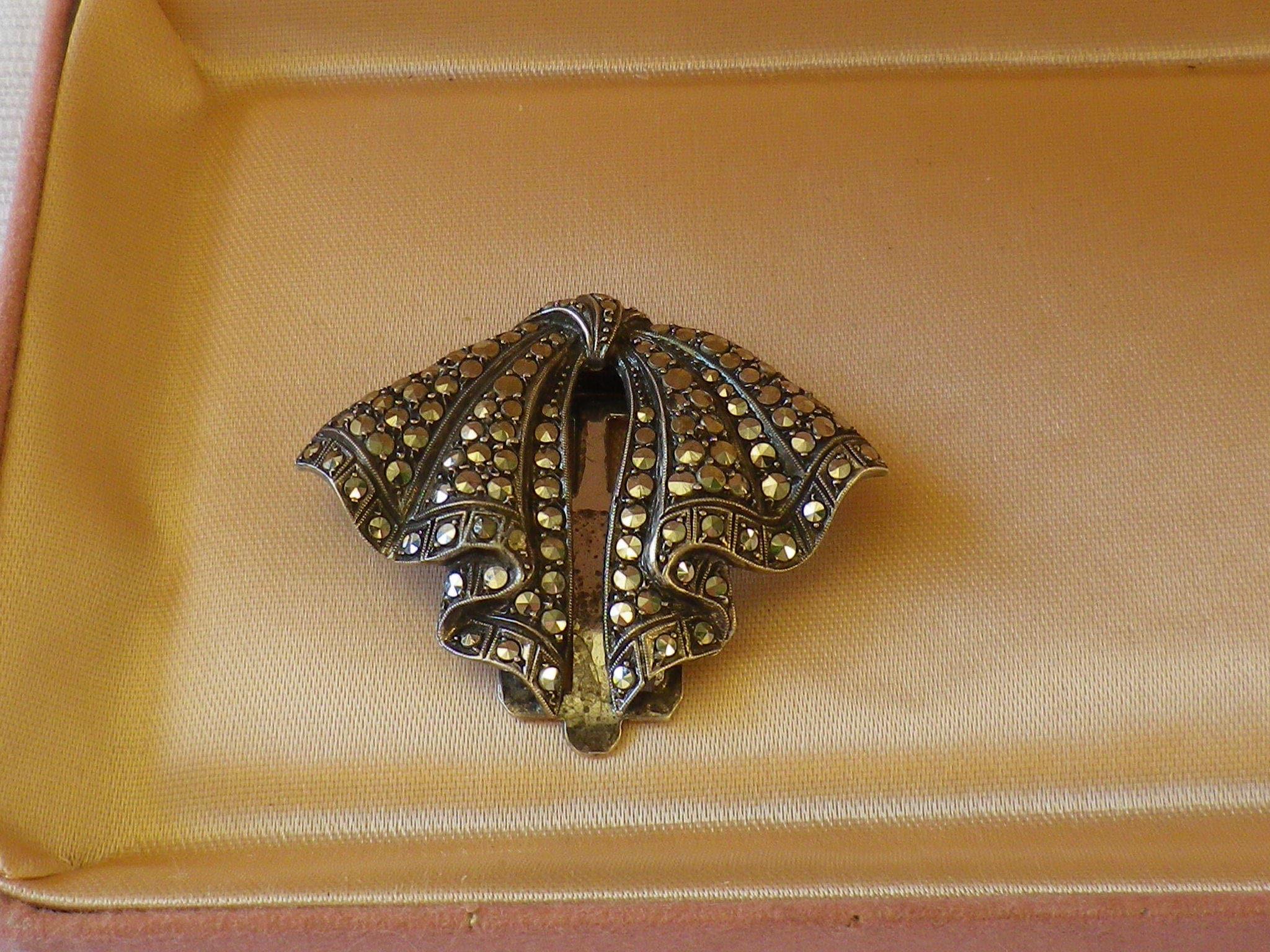 Vintage Marcasite Art Deco 935 Silver Marcasite Vintage Dress Clip bde026