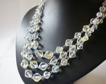 Vintage Triple Strand AB Crystal Necklace Wire Strung Ornate Clasp