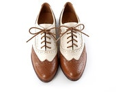 Free shipping -Handmade brown and white leather oxford shoes-