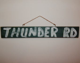 """Bruce Springsteen-""""Thunder Rd"""" Hand Painted Wooden Sign (Vintage/Worn Look) - FREE SHIPPING"""