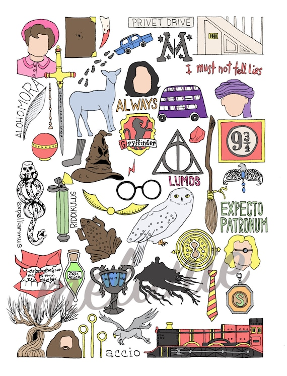 Harry Potter Collage Print Free Shipping Etsy