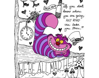Cheshire Cat (Alice in Wonderland) Print - FREE SHIPPING