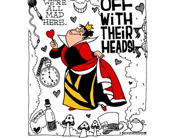 Queen of Hearts (Alice in Wonderland) Print - FREE SHIPPING