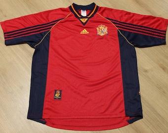 f3f1d1846 Vintage 1998-1999 Adidas SPAIN National Soccer Team Futbol Jersey World Cup