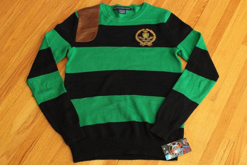 3b3461b6a Vintage 90s Ralph Lauren Polo Sport Striped Crest Sweatshirt